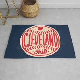 Hand Drawn Baseball for Cleveland Ohio with custom Lettering Rug