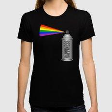 Happiness Spray Can - Rainbow Womens Fitted Tee MEDIUM Black