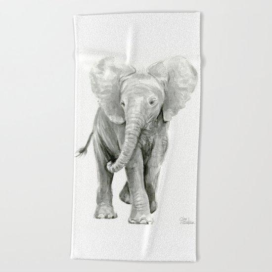 Baby Elephant Watercolor Beach Towel