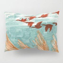 Geese Flying over Pampas Grass Pillow Sham