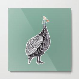 """Guinea Fowl"" | Noisy African Bird Metal Print"