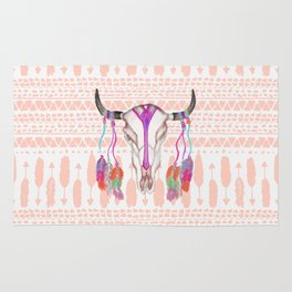 Watercolor Bull Skull Feathers and Arrow Aztec Rug
