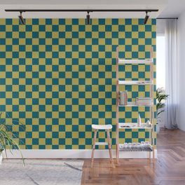 Dark Yellow and Tropical Dark Teal Inspired by Sherwin Williams 2020 Trending Color Oceanside SW6496 Small Checker Board Pattern Wall Mural