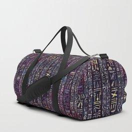 Egyptian hieroglyphs on purple violet painted texture Duffle Bag