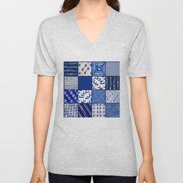 Batik Tie-Dye Indigo Quilt Unisex V-Neck