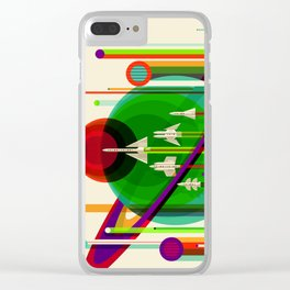 NASA Space Saturn Shuttle Retro Poster Futuristic Explorer Clear iPhone Case