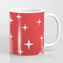 Mid Century Modern Star Pattern 443 Red Coffee Mug