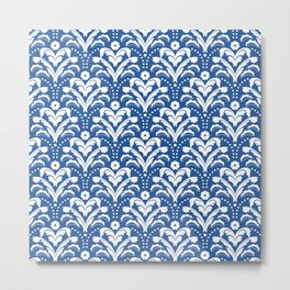 Art Deco Damask Dark Blue and White Metal Print