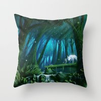 mononoke Throw Pillows featuring Mononoke by Roberto Nieto