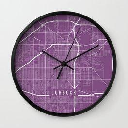 Lubbock Map, USA - Purple Wall Clock