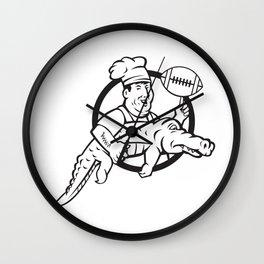 American Football Chef Gator Mascot Circle Wall Clock