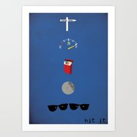 blues brothers Art Prints featuring Blues Brothers - 106 Miles by Douglas Harrower