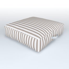 Mattress Ticking Narrow Striped Pattern in Chocolate Brown and White Outdoor Floor Cushion