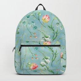 Aqua blue coral pink botanical roses and foliage pastel pattern Backpack