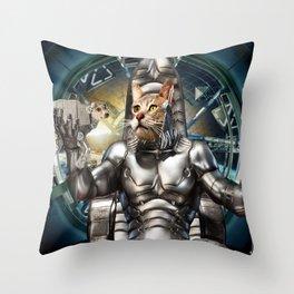Robot Space Cat Throw Pillow