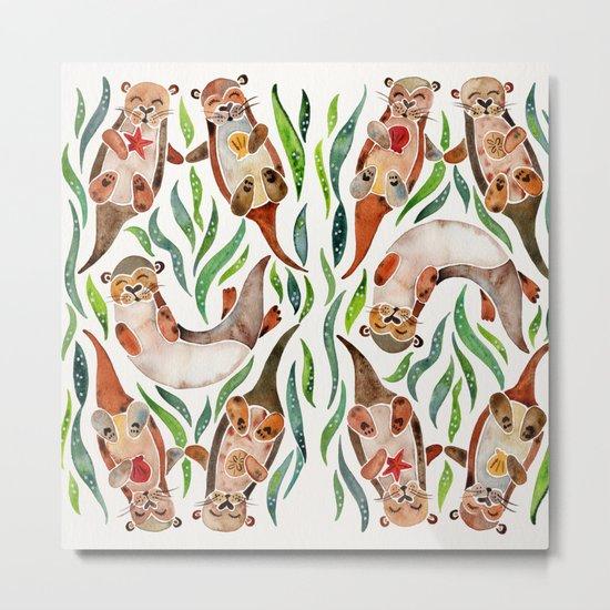 Five Otters – Green Seaweed Metal Print