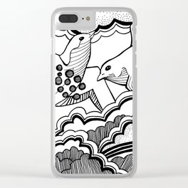 Swallows in the clouds Clear iPhone Case