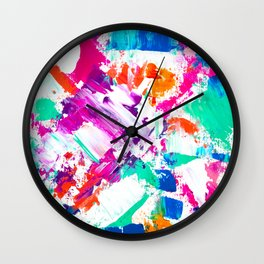 Forever and always 2 pink turquoise orange abstract acrylic paint Wall Clock