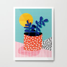 No Way - wacka potted house plant indoor cute hipster neon 1980s style retro throwback minimal pop Metal Print