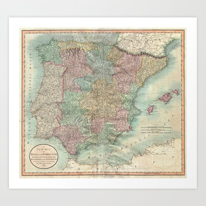 Map Of Spain To Print.Vintage Map Of Spain And Portugal 1801 Art Print By Bravuramedia