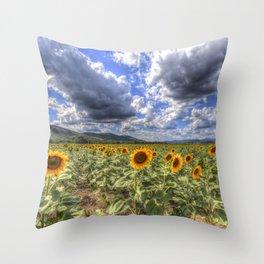 Sunflower Summer Field Throw Pillow