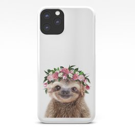 Baby Sloth With Flower Crown, Baby Animals Art Print By Synplus iPhone Case