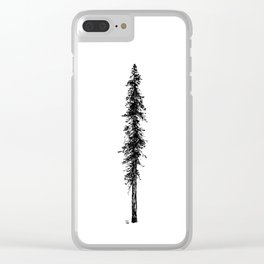 Love in the forest - a couple and their dog under a solitary, towering Douglas Fir tree Clear iPhone Case