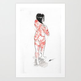 Sketch of a Tattooed Woman Art Print