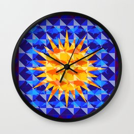Sunsharks On Blue. Wall Clock