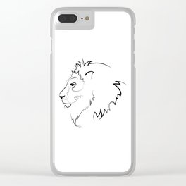 Lion Line Drawing Clear iPhone Case