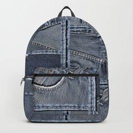 Blue Jeans Denim Patchwork Pattern Backpack