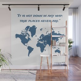Travel Map with a Quote Wall Mural