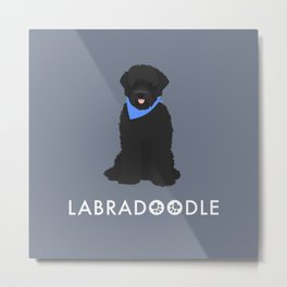 Labradoodle Black Metal Print