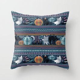 Embroidery Halloween // black cats orange and teal pumpkins white ghosts and stitches on teal Throw Pillow