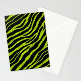 Ripped SpaceTime Stripes - Lime Yellow Stationery Cards