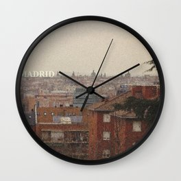 Old postcard of modern Madrid Wall Clock