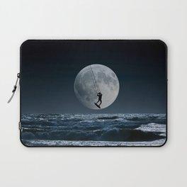 Kitesurfer in the moon in blue night sky horizon Laptop Sleeve