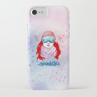 snowboarding iPhone & iPod Cases featuring I LOVE SNOWBOARDING  by Ylenia Pizzetti