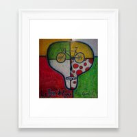tour de france Framed Art Prints featuring tour de france skull by mike giese