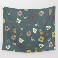 70s Wall Tapestries featuring 70S Cafe by Calepotts