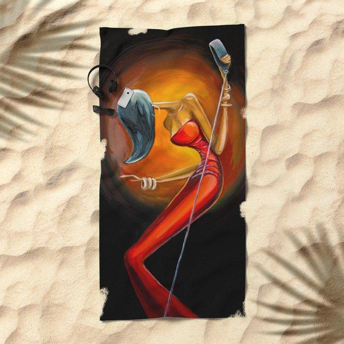 Lady Jazz Beach Towel