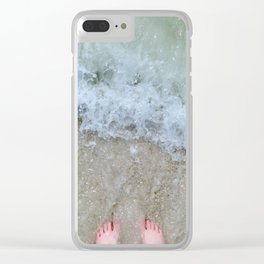 Green Waves Clear iPhone Case