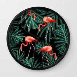 Summer Flamingo Jungle Night Vibes #2 #tropical #decor #art #society6 Wall Clock