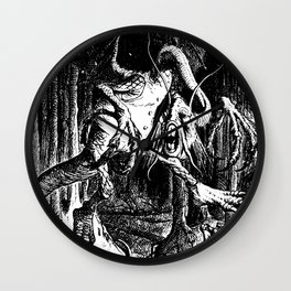 Jabberwocky Illustration from Alice in Wonderland Transparent Background Wall Clock