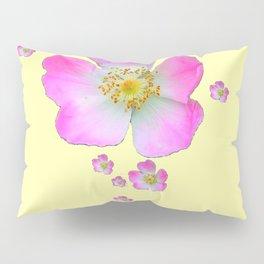 PALE YELLOW WILD PINK ROSE CASCADE ART Pillow Sham