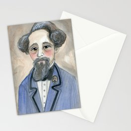 Charles Dickens in Blue, Victorian Literary Portrait Stationery Cards