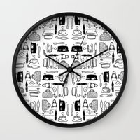 mary poppins Wall Clocks featuring Mary Poppins Pattern by CozyReverie