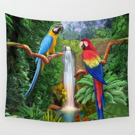 Macaw Tropical Parrots Wall Tapestry