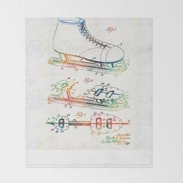 Ice Skate Patent - Sharon Cummings Throw Blanket