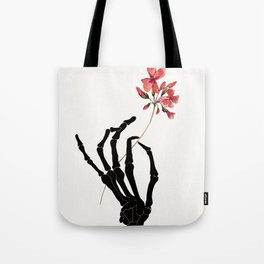 Skeleton Hand with Flower Tote Bag